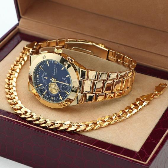 Reloj Gino Milano Con Brasalete De 22 Cm Laminado En Oro 14k