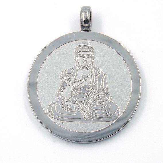 Dije De Acero Medalla Plateada Buda Sentado Eg