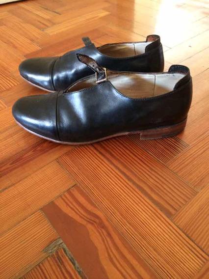 Zapatos De Cuero Negro Tipo Guillerminas