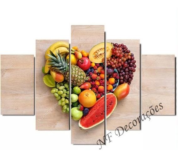 Quadro Decorativo 129x63 Coração De Frutas Mdf Mosaico