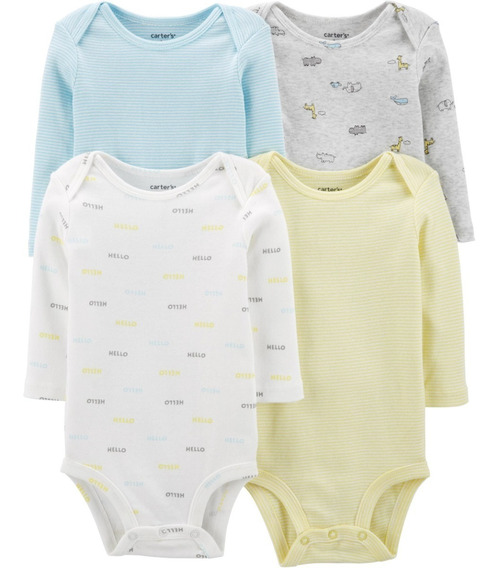 Kit 4 Bodies Carters Original Mangas Longas Meninos