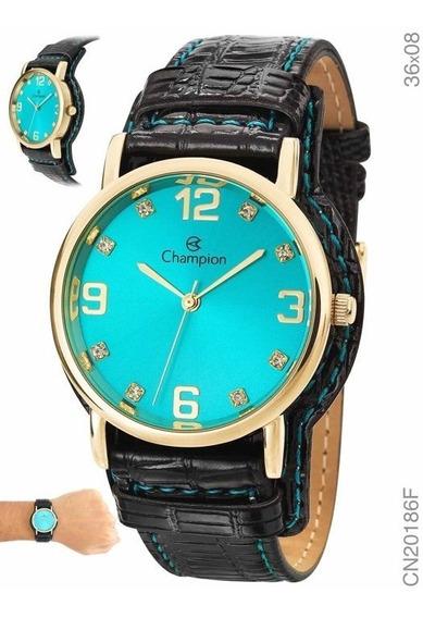 Relógio Champion Pulseira De Couro Fundo Azul Cn20186f