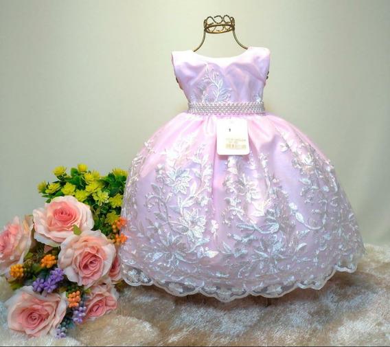 Vestido Festa Rainha Realeza Rosa Super Luxo 1 A 3 Anos