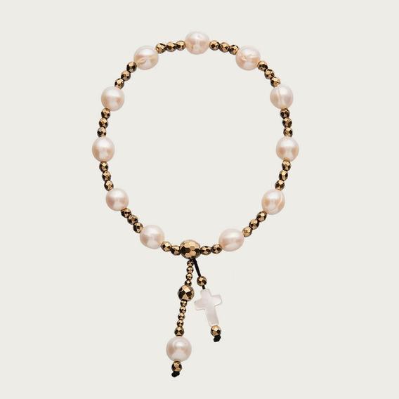 Pulseira Crucifixo Com Hematita, Pérola E Madrepérola