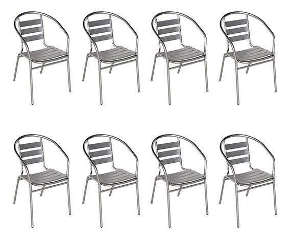 8 Cadeiras Alumínio Jardim Áreas Externas Mor Poltrona