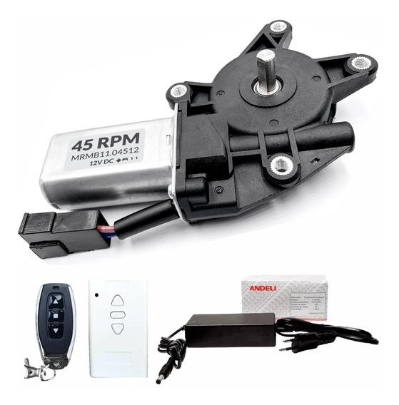 Motor Dc 12v Com Caixa Redução 45 Rpm + Remoto + Fonte 12v