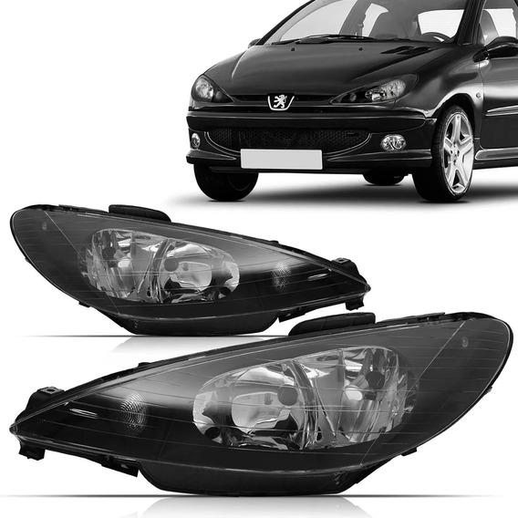Farol Peugeot 206 Duplo Liso 1999 2000 Á 2007 Negro Direito