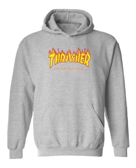 Sudadera Thrasher Flame Logo Hood Gray