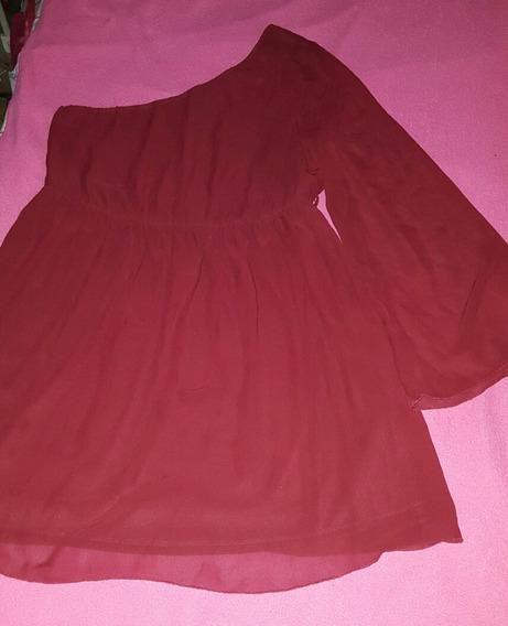 Vestido Forever 21 Rojo Oscuro Gasa Mujer