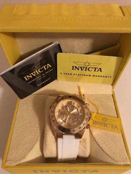 Relógio Invicta Dourado Com Branco 100% Original