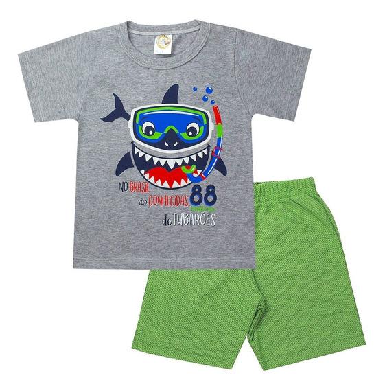 Kit 3 Conjuntos Boy Shark Infantil Roupas Menino Atacado