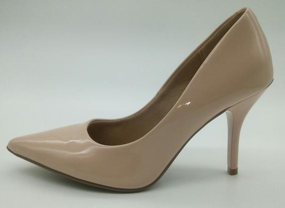 Sapato Scarpin Beira Rio Cor Nude Verniz