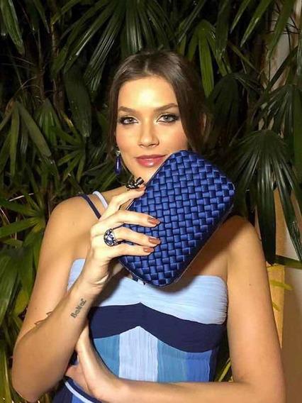 Bolsa Carteira Clutch Cetim Festa Bottega Inspired Azul Mari