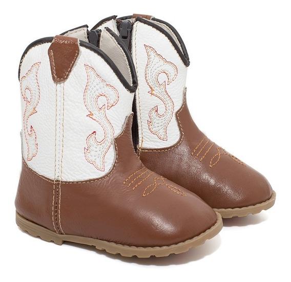 Bota Infantil Texana Bebê Feminina Em Couro Bull Leather