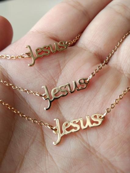 Kit Evangélico Rommanel Pulseira + Corrente + Anel Jesus