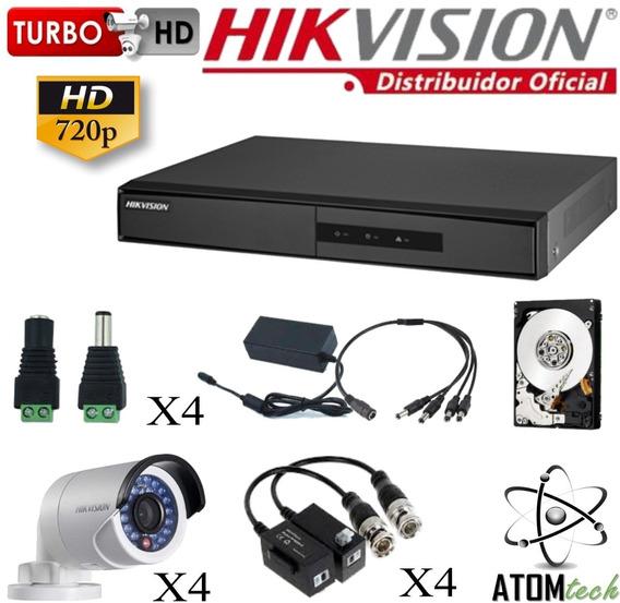 Kit Hikvision Dvr 8 + Disco 1tb + 4 Camaras 1mp