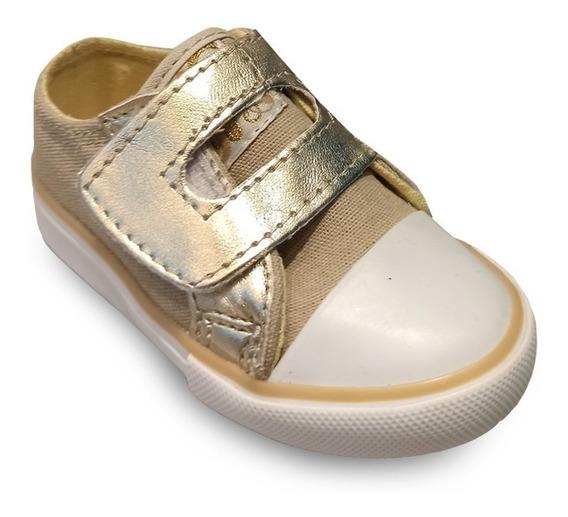 Zapatillas De Lona Couce Doradas Para Niñas