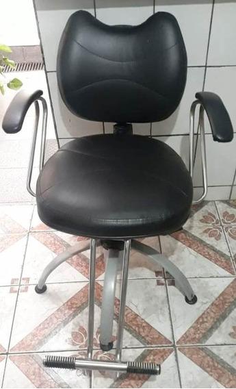 Cadeira Cabeleireiro Barbeiro Hidráulica Usada Leia A Descrição