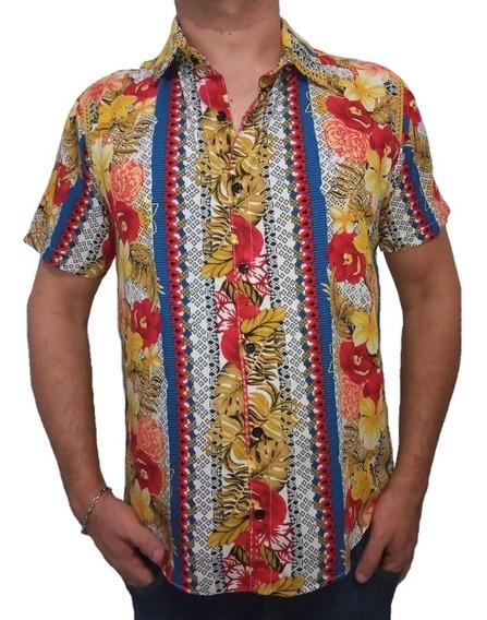 Camisa De Botão Masculina Floral Estilosa Estampada + Brinde