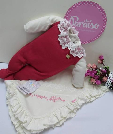 Saida Maternidade Luxo Paraiso Bebê Menina Plush Trico 8330