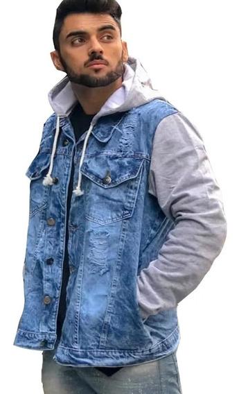 Jaqueta Jeans Rasgada Masculina Inverno Jaqueta Premium