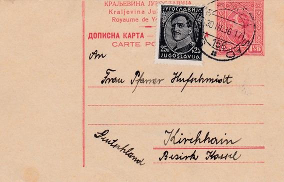 Yugoslavia 1936 Carta Postal A Alemania Con 2 Sellos E22