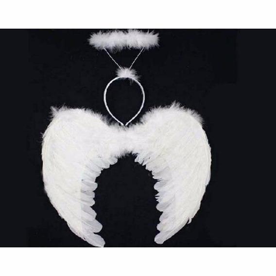 Set De Angel Alas Con Plumas (55x40) Y Halo O Aureola