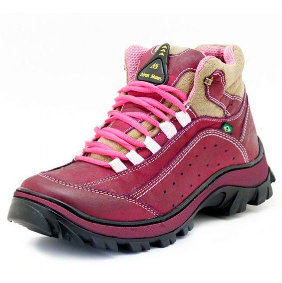 Tênis Adventure Trilha Feminino Pink Para Rappel Couro