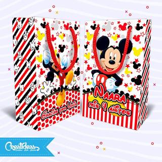 Mickey Minnie Roja Disney Bolsitas Personalizadas Pack X30