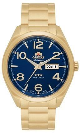 Relógio Orient Automático 469gp062 Dourado Mostrador Azul