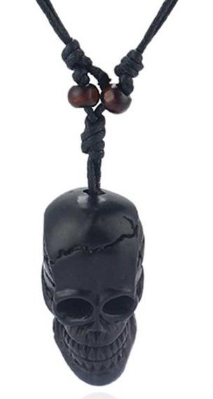Colar Cordão Pingente Caveira Resina Crânio Skull Viking