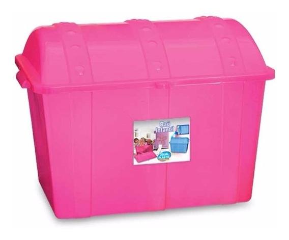 Kit 4 Caixa Bau Infantil Plastico Rosa
