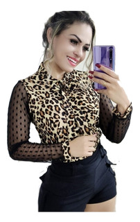 Camisa Feminina Gola Gravata Manga Longa Renda
