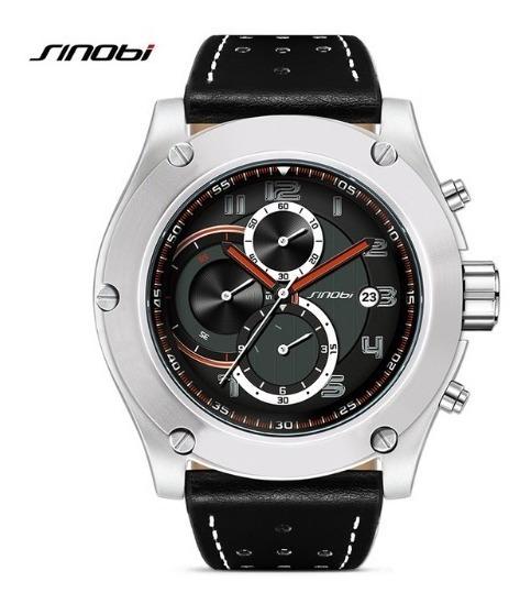 Relógio Masculino Esportivo Couro Sinobi Cronografo + Brinde
