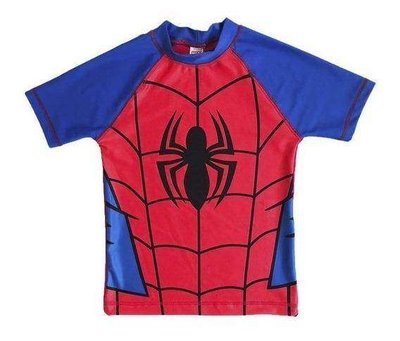 Remera De Agua Niños Filtro Solar Uv 30 Spiderman Marvel