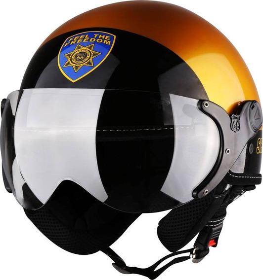 Capacete Aberto Kraft Plus Sheriff Dourado/preto 58