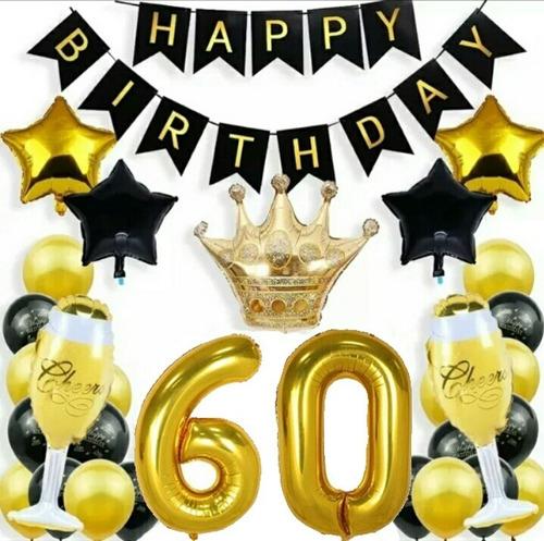 Kit Globos 60 Años Deco Feliz Cumpleaños Fiesta Metalicos
