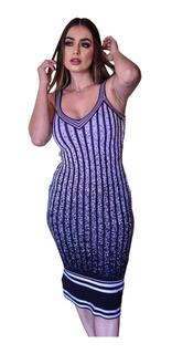 Vestido Midi Feminino De Alcinha Luxo Moda Evangélica Longuete Social Justo Tricot Trico