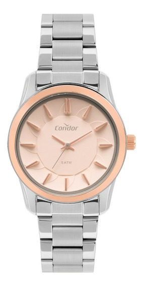 Relógio Condor Feminino Prata E Rose Original Metálico Nfe