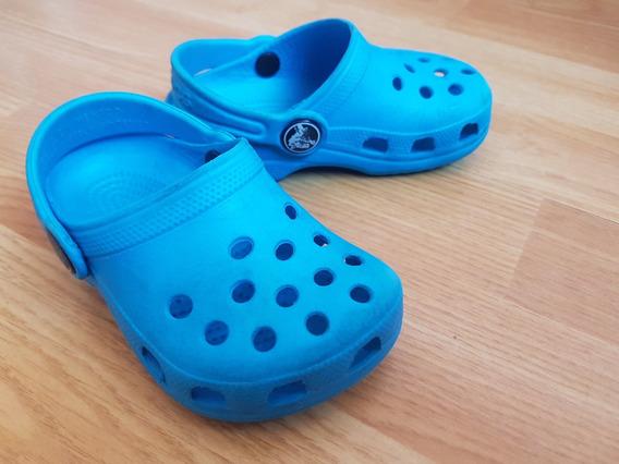 Crocs Celestes Usadas Originales Talle 4-5