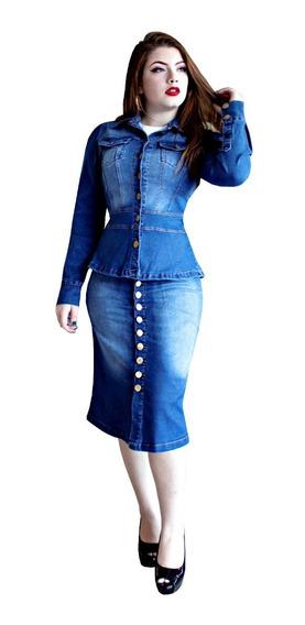 Conjunto Feminino Moda Evangélica Jeans Elastano Eduarda