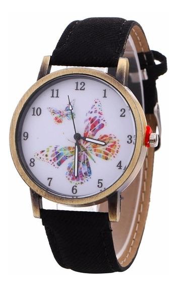 Reloj Pulsera Dama Mariposa Tipo Mezclilla Moda Mujer