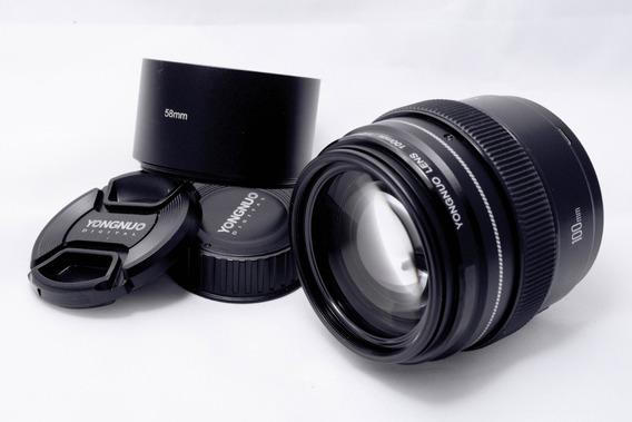 Lente Yongnuo 100mm F2 Nikon Com Parasol Metálico