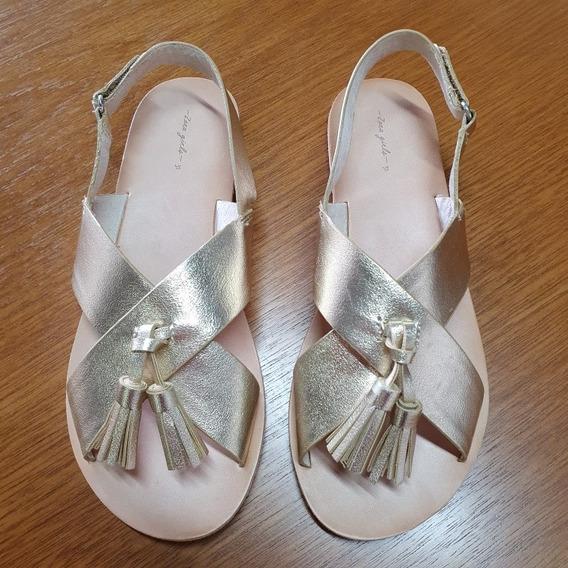 Sandalia Zara Girl Infantil Couro Tam 35 Brasil .obc