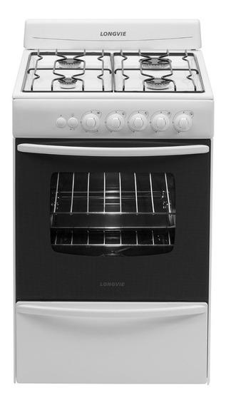 Cocina Longvie 19601B 4 multigas blanca puerta visor 74L