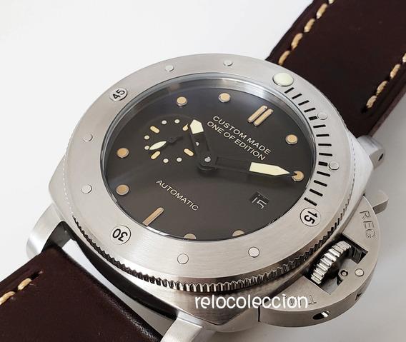 Reloj Mar Ina Militar 46mm Automático Piel Bisel Giratorio