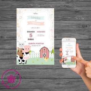 Invitacion Tarjeta Digital Mellisos Gemelos Animales Granja