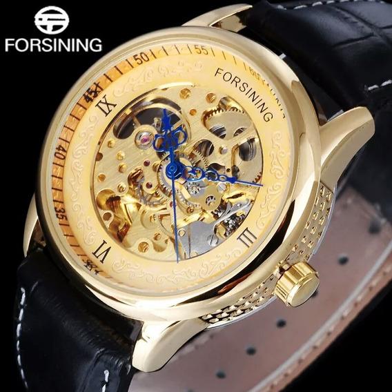 Relógio Automático Forsining Masculino - Esqueleto - Gold