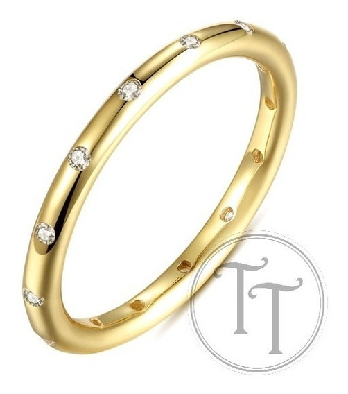 Anillo Chispas Brillantes Plata Esterlina 925/18k