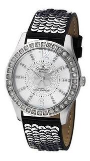 Relógio Champion Prata Pulseira Couro Preta Ch24277q
